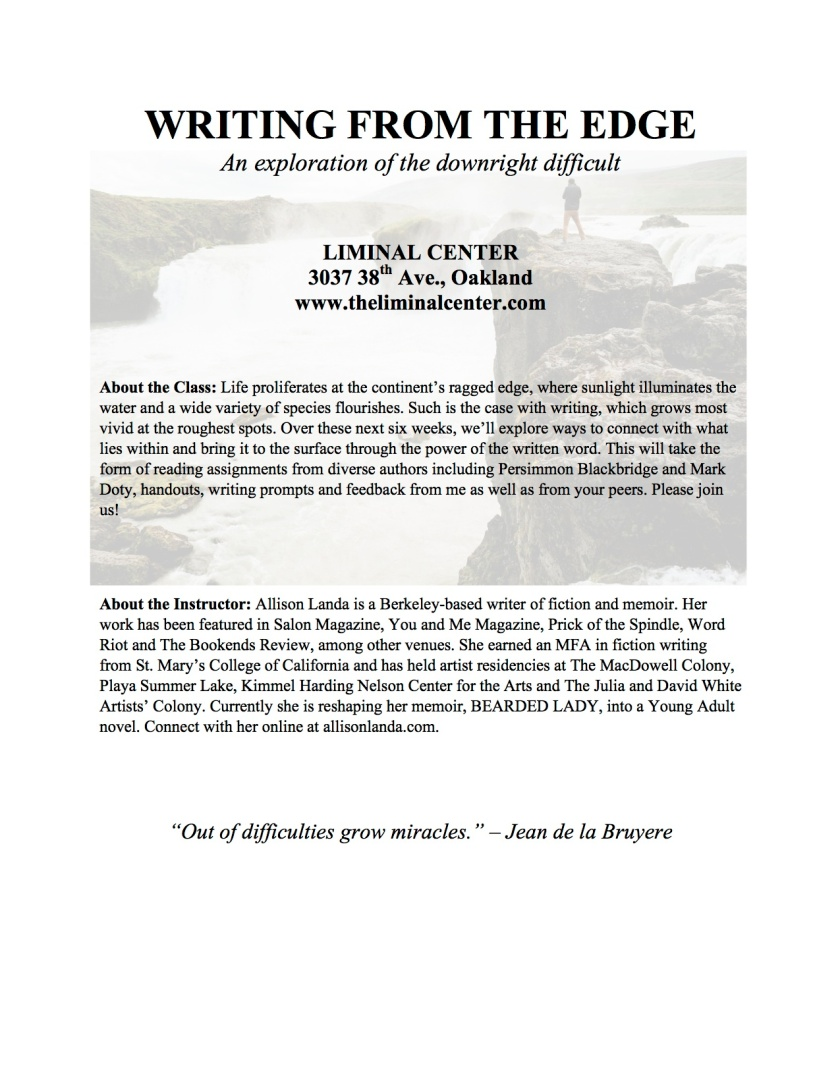 Writing from the Edge flyer-2